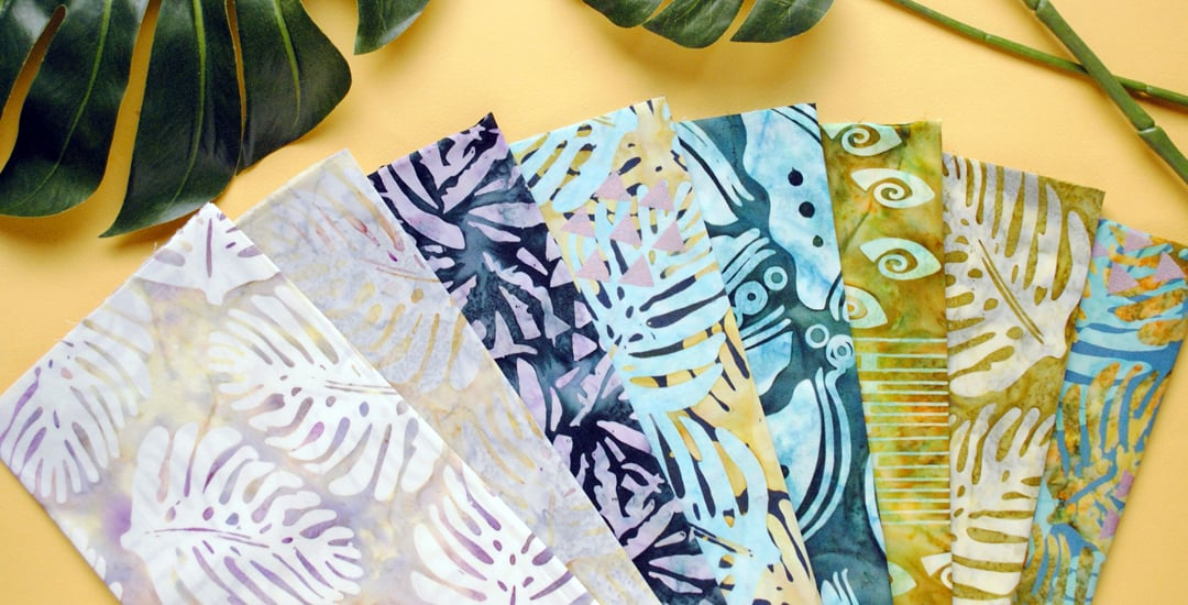 photo of collection of batik fabrics designed by daphne greig