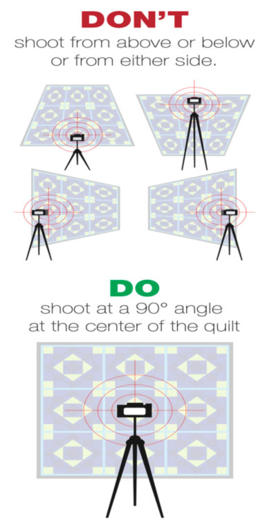 photograph at a 90 degree angle from the center of the quilt