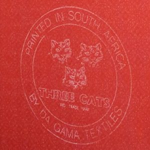 photo of the three cats fabric back stamp