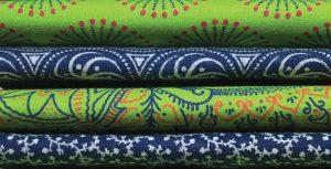 photo of a selection of shweshwe indigo prints