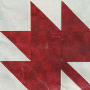 photo of red and white maple leaf block