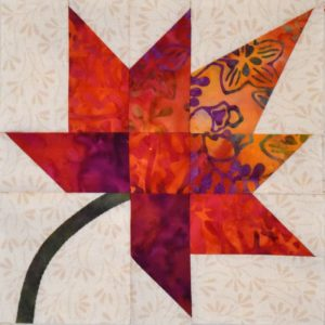 photo of a maple leaf quilt block