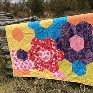 Spring Flowers Hexagon Quilt