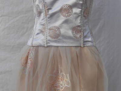 Embellished bustier and tulle overlay skirt